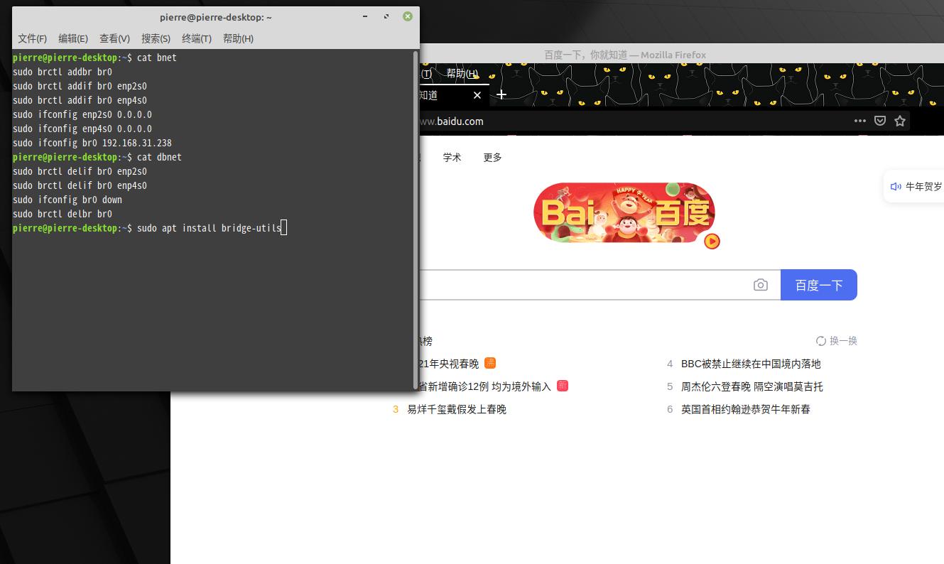 linux mint 下的网桥设置,附window 10 网桥的建立。